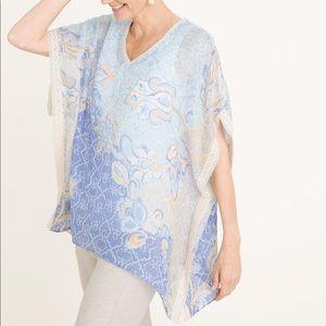 Chicos 100% Linen Floral Crochet Lace Poncho Top